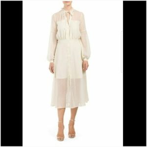 French Connection Cream Gold Sheer Secretary Dress